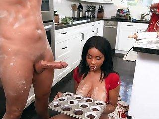 Naked ebony slattern with chubby tits, crazy kitchen fuck