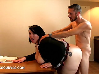 Secretary bent over a writing-desk