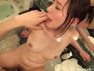 Brunette Japanese cutie Egami Shiho rides cock and takes cum with regard to frowardness