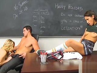 Girl serves a mature cock