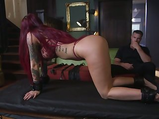 Tattooed submissive Tana Meadow is face fucked onwards hardcore pussy pain