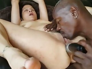 Mature Interracial Anal With Huge Dildo
