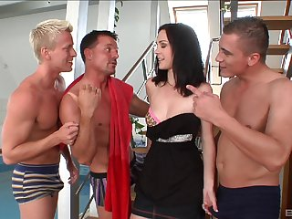 Foursome gangbang of slut here stockings and lingerie - Niky Benefactor