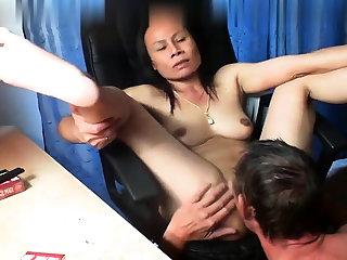 Thai asian milf grown-up suck dear one anal