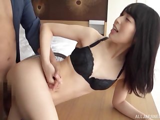 Skinny Japanese babe loads pussy with the endless inches