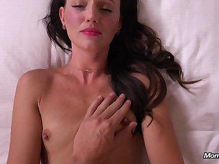 Hot brunette MILF hot porn video beside POV