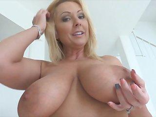 Blonde MILF with bi tits masturbating with toys