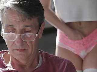 A stepdad has a secret admirer and his cute stepdaughter fucks like crazy