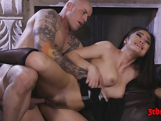 Hot Brunette Maid Kendra Spade rides fat gumshoe on divan - cumshot