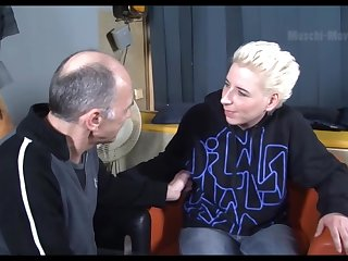 Creepy old man talks a hot mature slut into having sex in the air him