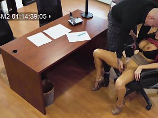 Becky Bandini's rough office have sexual intercourse caught on hidden camera