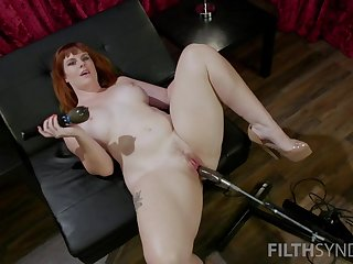 Red haired plumper Barbary Rose is going-over new sex apparatus and vibrator