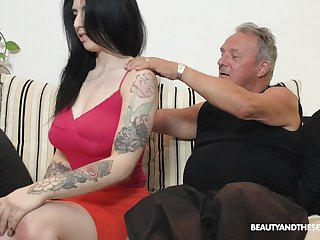 Busty fresh together with sexy brunette babe Sheril Blosso rides older man on top